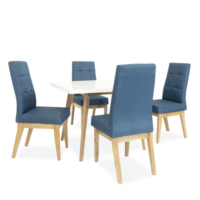 Comedor sillas tela azul